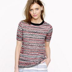 NWT J Crew Linen Stripe Beaded Sweater Small NEW Brand new J Crew beaded stripe sweater. This top has tags and is in a size small. Perfect condition, please let me know if you have any questions! J. Crew Sweaters Crew & Scoop Necks