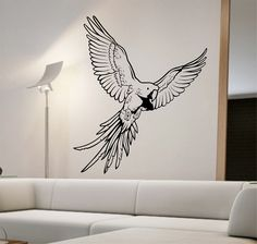 Parrot Wall Decal Sticker Art Decor Bedroom Design Mural Version Vinyl birds animals home decor room decor by StateOfTheWall on Etsy https://www.etsy.com/listing/248282013/parrot-wall-decal-sticker-art-decor