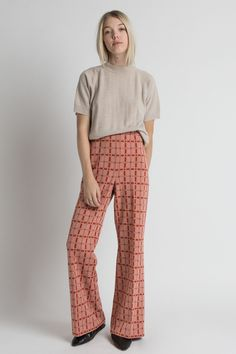 Vintage 70s Muted Geometric Print Poly Flared Pants | 6