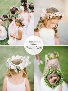 Flower girls | Flower crowns wedding hair Repinned by Moments Photography www.MomentPho.com