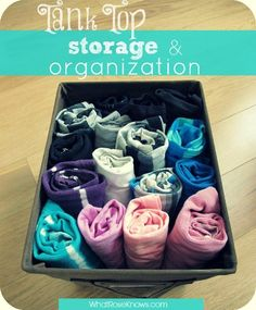 "Keep all of your tank tops organized this spring and summer with this simple Tank Top Storage & Organization idea! My tip on how to ""roll"" your tank top is included! No more wrinkles or missing tank tops!"