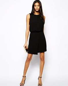 Shift Dress With Drape Front