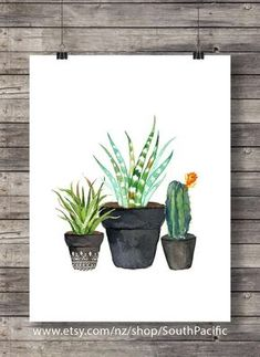 Impresión de arte cactus  Acuarela cactus  Cactus por SouthPacific