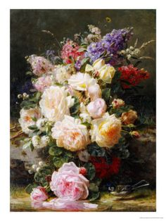 Still Life with Roses, Syringas and a Blue Tit on a Mossy Bank Giclée-Druck