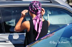Cannon beach city scarf silk scarves headscarves luxury gift luxe gifts square designer mary DeArment fuchsia black