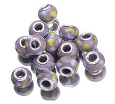 9.5x14.5mm Pink Gray Paint 925 Sterling Silver Core Glass Charms Jewelry European Beads