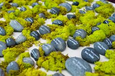 moss rocks place card table- Continuum Wedding Photography -   www.Engagednowwhat.com