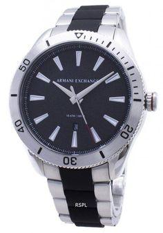 Armani Exchange Mens Enzo Black/Silver Stainless Steel Watch NEW! - Armani Watch - Ideas of Armani Watch Stainless Steel Bracelet, Stainless Steel Case, Seiko 5 Sports Automatic, Armani Watches For Men, Luxury Watch Brands, Black Crystals, Quartz Watch, Fashion Watches, Black Silver