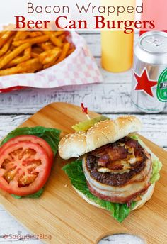 Bacon Wrapped Beer Can Burgers Recipe | Sassy Girlz