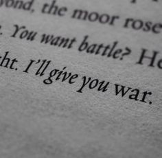 """""""You want a battle?"""" He said in a cold, quiet voice, raising his head from his fallen partner to the enemy. """"I'll give you war."""""""