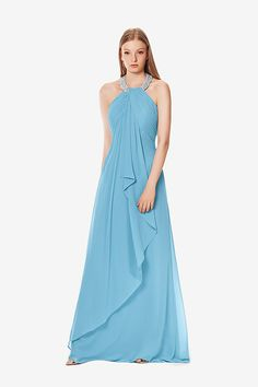 Zoe bridesmaid gown by David Tutera for Gather & Gown. Turquoise bridesmaid gown. Sky Blue bridesmaid gown.