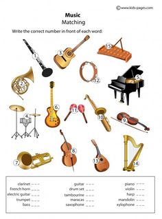 Instruments - Matching worksheets http://www.kids-pages.com/folders/worksheets/Music/Music.pdf