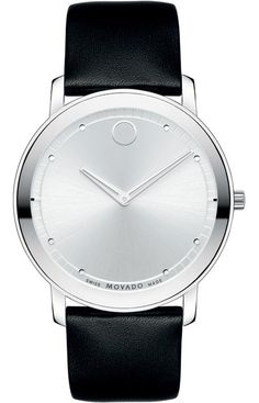 Movado 'TC' Leather Strap Watch, available at Movado Mens Watches, Watches For Men, Men's Watches, Mens Designer Watches, Ring Watch, Unisex, Jewelry Watches, Black Leather, Skeleton Hands