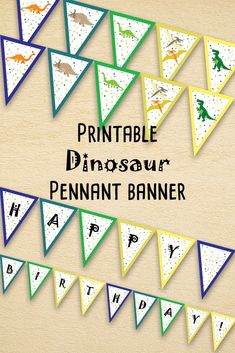 Dinosaur party pennant banner, Printable birthday garland, Dinosaur party decor, Instant download, PDF A4 LETTER size.