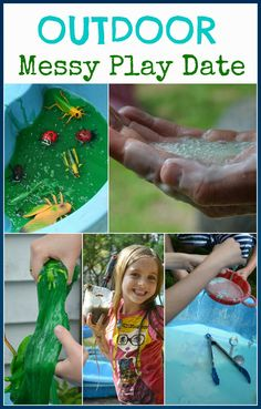 Come see our outdoor messy play date @Rainey Day Play! We played with slime, oobleck, fizzy mud, rainbow fluff, colored water mixing and more!