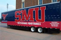SMU Southern Methodist University Mustangs - moving trailer to transport football equipment to away games