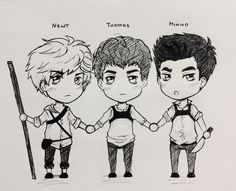 the mighty gladers chibi trio