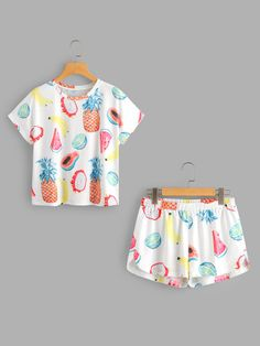 Shop Fruits Print Top And Dolphin Shorts Pajama Set online. SheIn offers Fruits … Shop Fruits Print Top And Dolphin Shorts Pajama Set online. SheIn offers Fruits Print Top And Dolphin Shorts Pajama Set & more to fit your fashionable needs. Cute Lazy Outfits, Short Outfits, Stylish Outfits, Cool Outfits, Cute Pajama Sets, Cute Pajamas, Girls Fashion Clothes, Fashion Outfits, Fashion Shorts