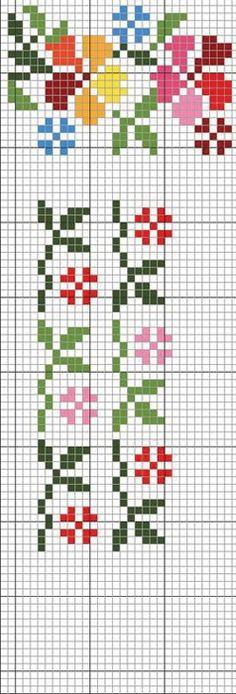 Cross Stitch Bookmarks, Mini Cross Stitch, Cross Stitch Borders, Cross Stitch Flowers, Cross Stitch Designs, Cross Stitching, Cross Stitch Patterns, Hand Embroidery Design Patterns, Folk Embroidery
