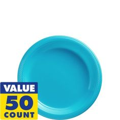 Caribbean Blue Plastic Dessert Plates 50ct - Party City