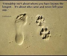Friendship isn't about whom you have known the longest...it's about who came and never left your side .