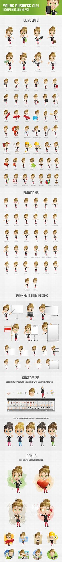 Young business girl cartoon charаcter that will help you to get your projects noticed and expand your online presence. This set contains 100 colorful poses filled with life and joy. Using any of the them will help you to add some real personality to your artworks. Continue reading →