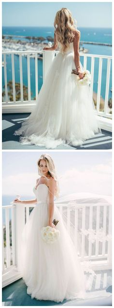 4f442de533d Ivory Tulle Destination Sweetheart Spaghetti Strap Wedding Dress ...