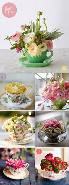 fleaChic: flea market savvy: April 2015 - these teacups make such pretty little vases