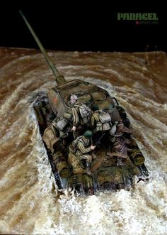 Fantastic water effects! Scale Tattoo, Landscape Model, Water Effect, Scale Art, Model Maker, Model Tanks, Military Modelling, Panzer, Toy Soldiers