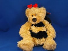 New product 'RUSS 7102 BREEZY Bumble Bee Hearts Wings 12 inch Bear' added to Dirty Butter Plush Animal Shoppe! - $12.00 -   RUSS No. 7102 Plush 12 inch BREEZY Bumble Bee Yellow Chenille Bear - Black Chenille Stripes on Body - Tan Velour Face…
