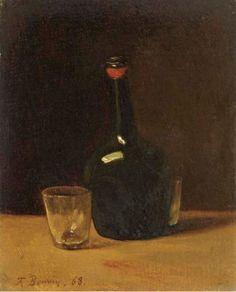 Nature morte; une bouteille de Porto et des verres sur un rebord 1864
