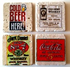 Vintage drink coasters. Handmade travertine tiles, sealed and padded underneath. $7 each.