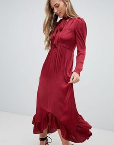 2bc294262be Forever New plunge front midi dress with ruched sleeve and pussybow in  burgundy
