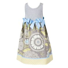 Handmade Printed Tank Dress w/ Blue Ribbon Bows $38