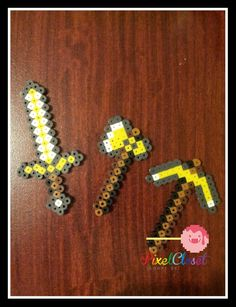 Minecraft Perler Pickaxe/Shovel/Axe/Sword Keychain.
