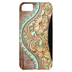 Western Style Turquoise and Tooled Leather Look Cover For iPhone 5C