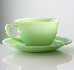 Fire King Jadite Jane Ray Cup and Saucer