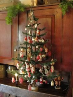 Feather Tree...with vintage glass ornaments.