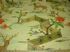 """Brunschwig ET & Fils Fabric Deer Animal """"NARA LANDSCAPE"""" 3YD  MSRP$200+/YD OMG!"""
