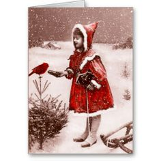 Red Cardinal Vintage French Greeting Card