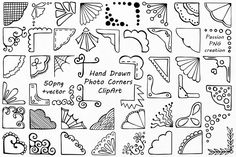 White Hand Drawn Photo Corners Clipart, Doodle corners clip art, Photo overlay, PNG, For Personal and Commercial Use Overlay Photoshop, Brosses Photoshop, Photoshop Brushes, Bullet Journal Art, Bullet Journal Ideas Pages, Bullet Journal Inspiration, Doodle Drawings, Doodle Art, How To Doodle