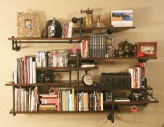 How to: Make a Rustic Built-In Shelves with Plumbing Pipes | Man Made DIY | Crafts for Men | Keywords: DIY, storage, organization, steampunk...
