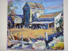 Oil Painting    Old Flour Mill  Temuka South Island New Zealand  on show at Crossroads Gallery