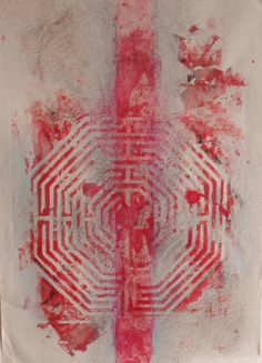 labyrint van Amiens France, linodruk, krijt en potlood