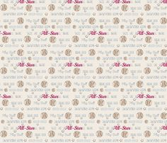 AllStar vintage cream worn  baseball  stars and text  SMALL6 fabric by drapestudio on Spoonflower - custom fabric