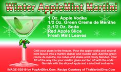 WINTER APPLE MINT CHRISTMAS MARTINI recipe on a Free Recipe Card - Click the image for the Full Sized, Print Quality Recipe Card!