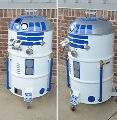 What's a summertime barbeque without our favorite R2 unit? This one-of-a-kind R2-D2 #BBQ Drum #Smoker #Grill was designed by Philip Wise and does something that R2-D2 never did, it smokes a mean set of ribs. Made from an old 55 gallon steel drum, Philip created his R2-BQ with a lot of hard work and determination