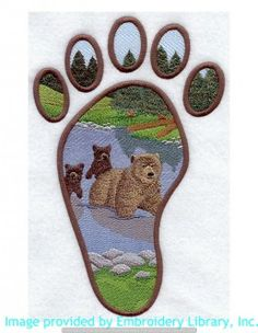 Stickmotiv Stickbild Aufnäher Stickerei Emblem Spuren  Spuren /  Stickerei Grizzly Bear Track Scene (A7965)