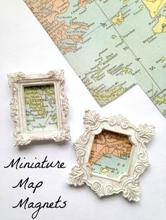 Miniature Map Magnets Craft Tutorial Miniature Map Magnets - great for DIY Travel Keepsakes, wanderlust wish lists, hanging things in your home decor or just beautiful little gifts! Want great tips on arts and crafts? Head out to our great site! Map Crafts, Travel Crafts, Fun Travel, Crafts With Maps, Travel Ideas, Travel Inspiration, Decor Crafts, Travel Usa, Fabric Crafts