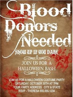 "Halloween Vampire Party Invitation ""Blood Donors Needed"""